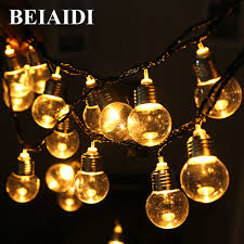 beiaidi solar 6m 20 led g50 globe bulbs led string light clear