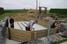piscine en bois wood line semi enterrée piscine