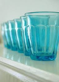 Set Of 6 Picardie Style Durit The Czech Equivalent Duralex Turquoise Glasses In Amazing Condition For Their Age