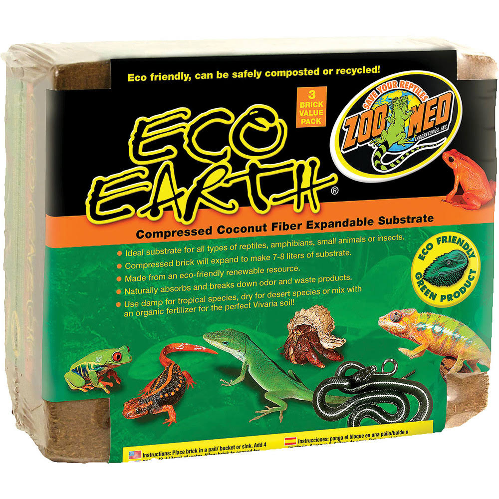 Zoo Med Eco Earth Compressed Coconut Fiber Substrate - 3 Bricks