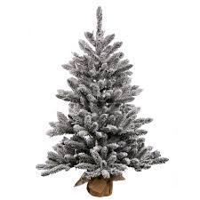 Vickerman 36 Prelit Flocked Anoka Pine Artificial Christmas Tree With 100 Warm White LED Lights