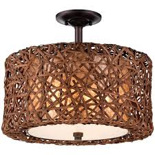 Modern Woven Rattan Ceiling Light Casual With A Touch Of Beach Chic And Rustic Style