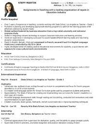 Sample Of Resume Teacher With Experience Samples