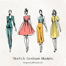Four Cute Sketches Of Fashion Models
