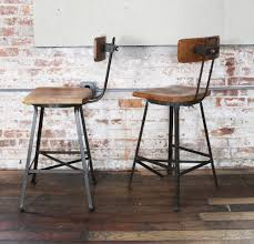 Vintage Metal And Wood Glider Coffee Table Chairs Swivel Stool