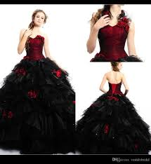 vintage red and black wedding dress 2016 handmade flower ruffle