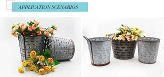Florist Flower Buckets Rustic Garden Pots Decoration Planter Metal Olive Wholesale Pot