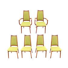Mid-Century Modern Adrian Pearsall Style Teak Danish Avocado Green Tweed  Dining Chairs - Set Of 6