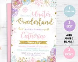 Winter Onederland Invitation Snowflake Birthday Invite Pink And Gold Purple Instant Download