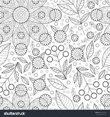 Vector Flower Seamless Pattern With Leaves Scrapbook Black And White Cute Paper Monochrome Print