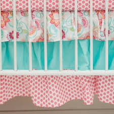 Aqua And Coral Crib Bedding by Sweet Jojo Designs Feather Collection 9 Piece Crib Bedding Set