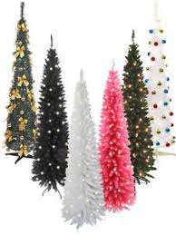 Pre Lit Pencil Christmas Trees Uk by Pre Lit Slim Christmas Tree 6ft Leds Pop Up Decoration Festive