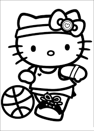 Hello Kitty Coloring Pages Playing Ball