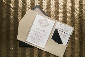 Black Tie Monogram Wedding Invitation In Pocket Folder