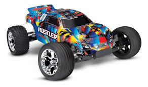 Traxxas Rustler Rock N' Roll 2WD Brushed RTR RC Stadium Truck 1/10 ...