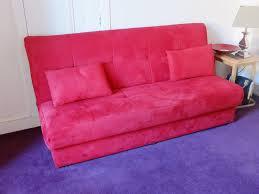 istikbal sofa bed in red alcantara fabric in milltimber