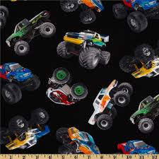 In Motion Monster Trucks Black - Discount Designer Fabric - Fabric.com