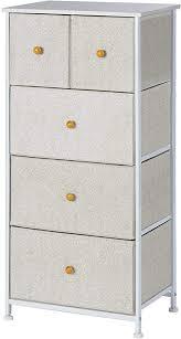 ephex kommode aus stoff schmaler schrank organizer mit 5 schubladen für schlafzimmer wohnzimmer oder flur kleine kommode aus metall mdf und