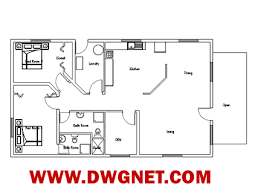 Single Story Building Plans Photo by Single Story Small House Plan 04 Dwg Net Cad Blocks And House
