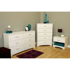 south shore soho 3 piece dresser and nightstand set pure white