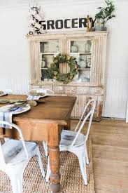 Primitive Dining Room Hutch Neutral Farmhouse Shiplap Walls Furniture Magnolia Wreaths So Much More