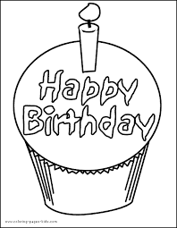 Birthday Cake With Candle Color Page Holiday Coloring Pages Plate