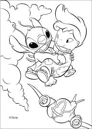 A Coloring Page Of Lilo Flying With Stitch Cute Drawing For Disney Movies Lover