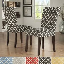 INSPIRE Q Catherine Moroccan Pattern Fabric Parsons Dining Upholstered Skirted Chairs