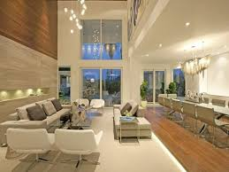 DecorationsDazzling Living Room Design With Long Glass Table And High Ceiling Lighting Decor Ideas