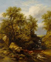 100 Rocky Landscape With Waterfall And Cattle