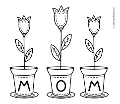 Mother S Day Flowers Coloring Pages For Kids Printable Free Throughout Mothers
