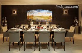 Elegant Dining Room With Filed Of Tuscany Painitng