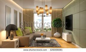 Brown Couch Living Room Design by Luxury Interior Design Living Room Pool Stock Photo 668278552