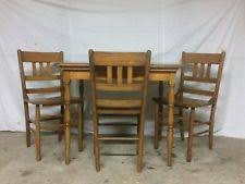 Solid Oak Antique Vintage Dining Kitchen Table And Chairs