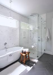 Tiling A Bathtub Enclosure by Gorgeous Bathroom With Full Height Marble Subway Tile Backsplash