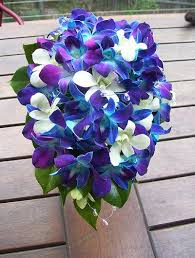 Blue Purple White Orchid Wedding Bouquet