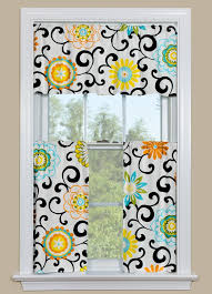 Window Art Tier Curtains And Valances by Modern Kitchen Curtain Panel With Brightly Colored Flowers In Our