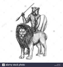 Tattoo Style Illustration Of An African Warrior Holding Spear And Shield Looking To The Side With