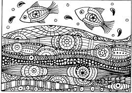 Fishes On The Waves Drawing With Simple Zentangle Patterns