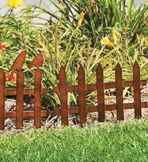 Set Of 6 Rustic Metal Picket Fence Garden Edging With Birds
