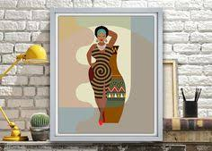 African Wall Art American Woman Painting Black