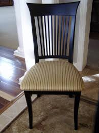 Black High Gloss Finish Chair With Striped Pattern Padded Seat And Lath Banister Mesmerizing Dining Room