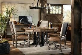 Hill Country Furniture Hooker Fair Oaks Hardwood Solids Poplar Rustic Dining Room Upholstered Game Arm