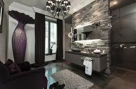 badezimmer in dunklen lila und bild kaufen 11328797