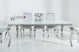 barock design esstisch modern barock 200cm weiß edelstahl opalglas tischplatte esszimmertisch glastisch