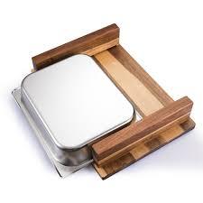 schneidebrett aus akazienholz mit auffangbehälter profi küchenbrett aus vollholz mit auffangschale