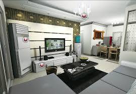 TV Wall Decoration Rendering In Modern Minimalist Living Room