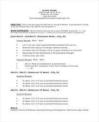 Restaurant Manager Business Plan Resume