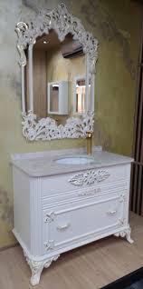casa padrino barock badezimmer set weiß gold 1 waschtisch mit marmorplatte und keramik waschbecken 1 wandspiegel prunkvolle badezimmer möbel