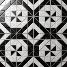 Windmill Series 2 Matte Black White Triangle Tiles Porcelain Floor